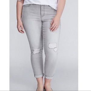 Lane Bryant Distressed Light Gray Capri Jeans